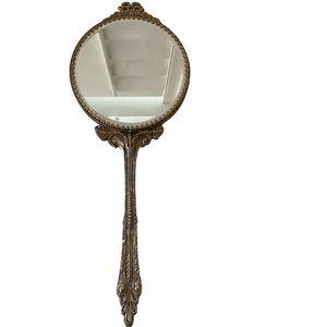 Vintage Handheld Vanity Mirror Shabby Chic Bow Top